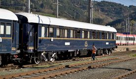 A Veneza Simplon-Oriente-expressa na estação central Innsbruck Foto de Stock Royalty Free