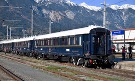 A Veneza Simplon-Oriente-expressa na estação central Innsbruck Fotos de Stock