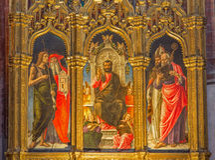 Veneza - St Mark o tron e o St John, Jerome, Peter e Nicholas no dei Frari de Santa Maria Gloriosa dos di da basílica da igreja Fotografia de Stock