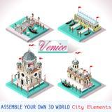 Veneza 03 telhas isométricas Fotografia de Stock Royalty Free