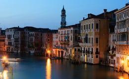 Venezia美丽的景色在晚上,威尼斯,意大利 库存图片
