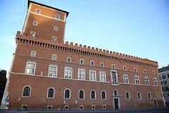 Venezia πλατειών στη Ρώμη, Ιταλία, μπαλκόνι οικοδόμησης όπου μιλά το Δ Στοκ Εικόνες