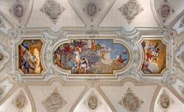 Venezia - affresco del soffitto dalla chiesa Santa Maria del Rosario (dei Gesuati di Chiesa) da Giovanni Battista Tiepolo da 18 c Fotografia Stock Libera da Diritti