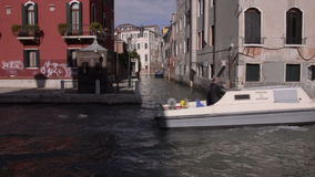 Venezia. Boats on the canals of the old city stock video