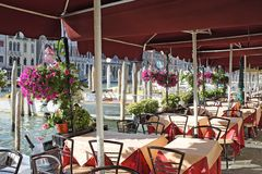 Venezia, caffè sul grande canale Fotografia Stock Libera da Diritti