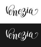 Venezia calligraphy brush lettering text design element Royalty Free Stock Images