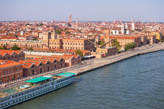 Venezia en de cruiseschepen Stock Foto's