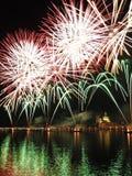 Venezia - fuochi d'artificio durante la festività del Redeeme fotografie stock libere da diritti