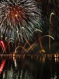Venezia - fuochi d'artificio durante la festività del Redeeme fotografia stock libera da diritti