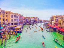Venezia Grand Canal nel giorno soleggiato di estate Fotografie Stock Libere da Diritti