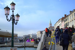 Venezia ha ammucchiato il ponte Fotografia Stock Libera da Diritti