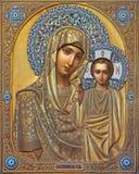 Venezia - icona di Madonna con il bambino da Russo in chiesa di San Martino di San Martino sull'isola di Burano. fotografie stock