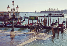 Venezia, Italia - alta marea al degli Schiavoni di Riva Fotografie Stock