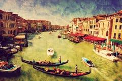 Venezia, Italia Gondola sul grande canale Arte d'annata illustrazione di stock