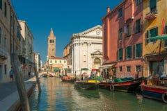 VENEZIA, ITALIA - il 09 luglio: Campo San Barnaba a Venezia, Italia sopra Fotografia Stock Libera da Diritti