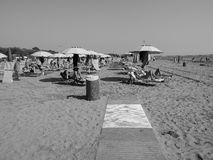 Venezia Lido Beach in Venice in black and white Stock Photography