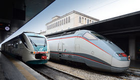 Venezia  railway station. Venezia Santa Lucia railway station and High speed lines and trains - Trenitalia Stock Image