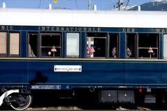Venezia Simplon-Oriente-precisa nella stazione centrale Innsbruck Fotografie Stock Libere da Diritti