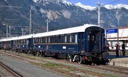 Venezia Simplon-Oriente-precisa nella stazione centrale Innsbruck Fotografie Stock