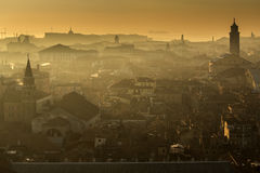Venezia at sunset. A wonderful view from St Mark's Campanile, Venice, at sunset Stock Photo