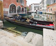 Venice / View of the river canale and traditionale gondola. Venezia / View of the river canale and traditionale gondola stock image