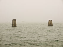 Venezia. Winter sea and fog in Venice Stock Photos