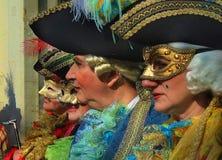 venezians的外形面孔在狂欢节期间的 库存照片