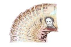 100 Venezolaans die bolivaresbankbiljet op witte achtergrond wordt geïsoleerd Royalty-vrije Stock Foto
