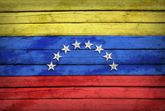 Venezolaanse die vlag op houten raad wordt geschilderd royalty-vrije stock fotografie