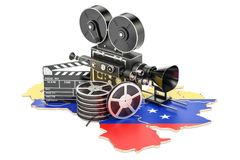 Venezuela cinematography, film industry concept. 3D rendering. Isolated on white background Stock Photos