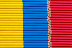 Venezuela and colombia flag with pencil. Colored pencils of the flag of Colombia and Venezuela are aligned and tidy Stock Photo