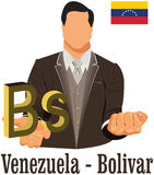 Venezuela currency symbol bolivar representing money and Flag. Royalty Free Stock Photos
