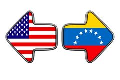Venezuela da bandeira e EUA no fundo branco Ilustração 3d isolada ilustração do vetor