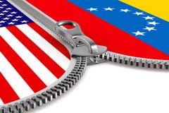 Venezuela da bandeira e EUA e zíper ilustração 3D ilustração do vetor