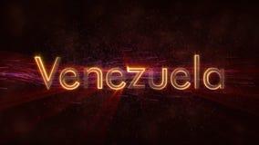 Venezuela - de Glanzende het van een lus voorzien animatie van de de naamtekst van het land stock afbeeldingen