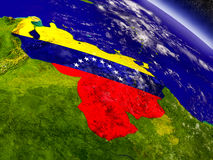 Venezuela with embedded flag on Earth Royalty Free Stock Image