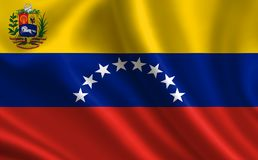 Flag of Venezuela. Part of the series. Venezuela flag blowing in the wind Stock Photo