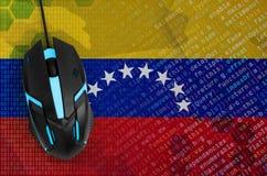 Venezuela flag and computer mouse. Digital threat, illegal actions on the Internet. Venezuela flag and modern backlit computer mouse. The concept of digital stock photos