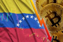 Venezuela flag and cryptocurrency falling trend with many golden bitcoins. Concept of reduction Bitcoin in price or bad conversion in cryptocurrency mining stock illustration