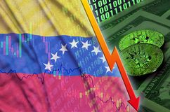 Venezuela flag and cryptocurrency falling trend with two bitcoins on dollar bills and binary code display. Concept of reduction Bitcoin in price and bad royalty free illustration
