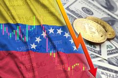 Venezuela flag and cryptocurrency falling trend with two bitcoins on dollar bills. Concept of depreciation Bitcoin in price against the dollar royalty free illustration