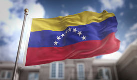 Venezuela Flag 3D Rendering on Blue Sky Building Background vector illustration