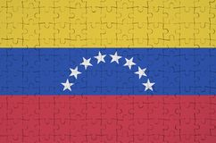 Venezuela flag is depicted on a folded puzzle stock illustration