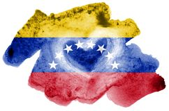 Venezuela flag is depicted in liquid watercolor style isolated on white background. Careless paint shading with image of national flag. Independence Day banner royalty free stock photography