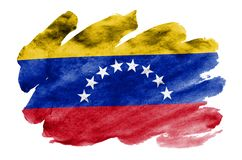 Venezuela flag is depicted in liquid watercolor style isolated on white background. Careless paint shading with image of national flag. Independence Day banner royalty free stock images