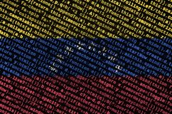 Venezuela flag is depicted on the screen with the program code. The concept of modern technology and site development.  royalty free stock photography