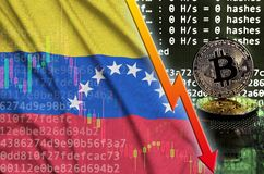 Venezuela flag and falling red arrow on bitcoin mining screen and two physical golden bitcoins. Concept of low conversion in cryptocurrency mining royalty free illustration