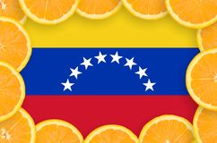 Venezuela flag in fresh citrus fruit slices frame. Venezuela flag in frame of orange citrus fruit slices. Concept of growing as well as import and export of vector illustration