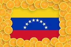 Venezuela flag in fresh citrus fruit slices frame. Venezuela flag in frame of orange citrus fruit slices. Concept of growing as well as import and export of royalty free stock photos