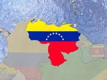 Venezuela with flag on globe Stock Image